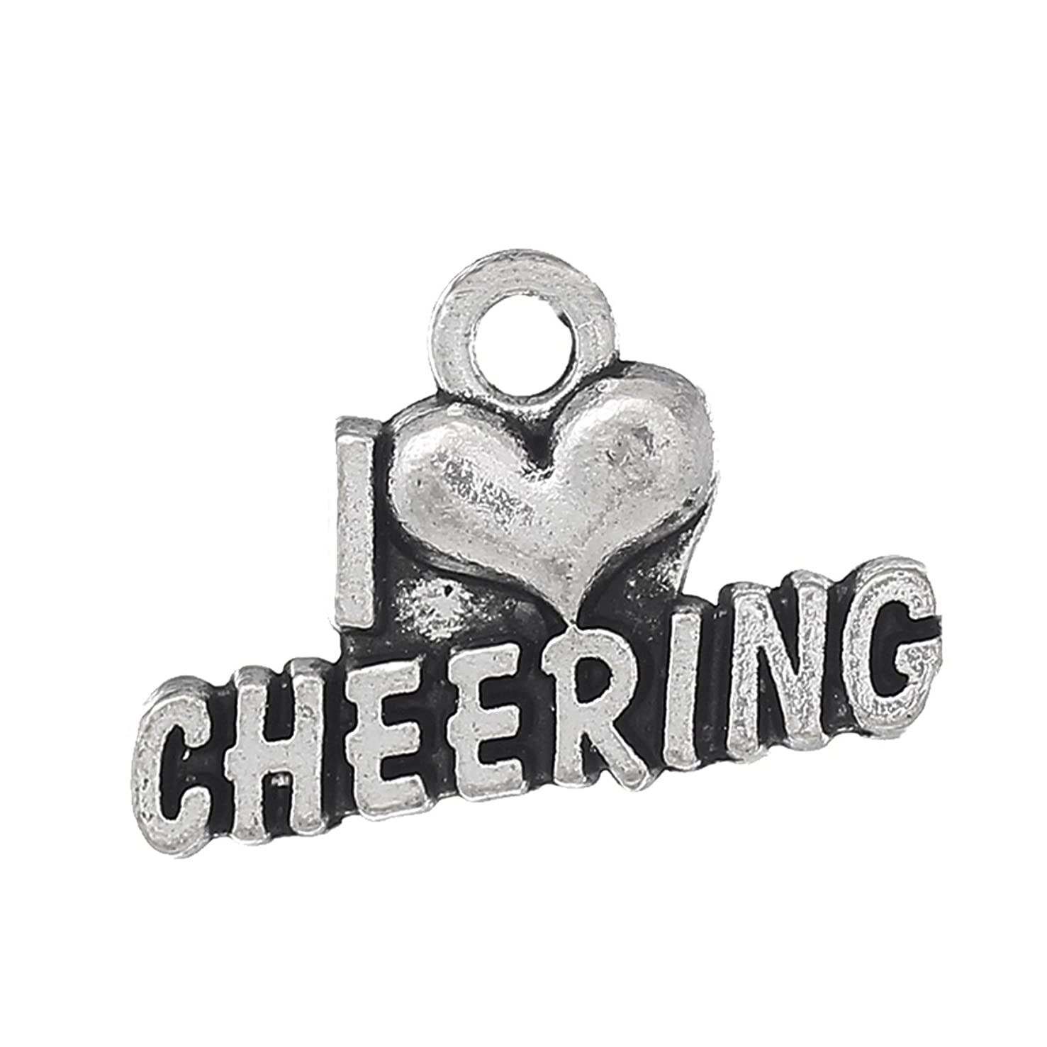 Cheerleading - Cheer and School Spirit Silver Tone Charms (30 Pc Cheering)