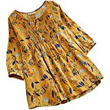Lazzboy Women Tops Blouse 3/4 Long Sleeve Linen Ladies Floral Print Loose Casual Pullover Shirt Plus Size(5XL(22),Yellow)