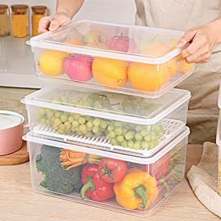 Alician Large Rectangle Drawer Type Food Sealing Preservation Box for Vegetable Fruit 5L Transparent White Single Package