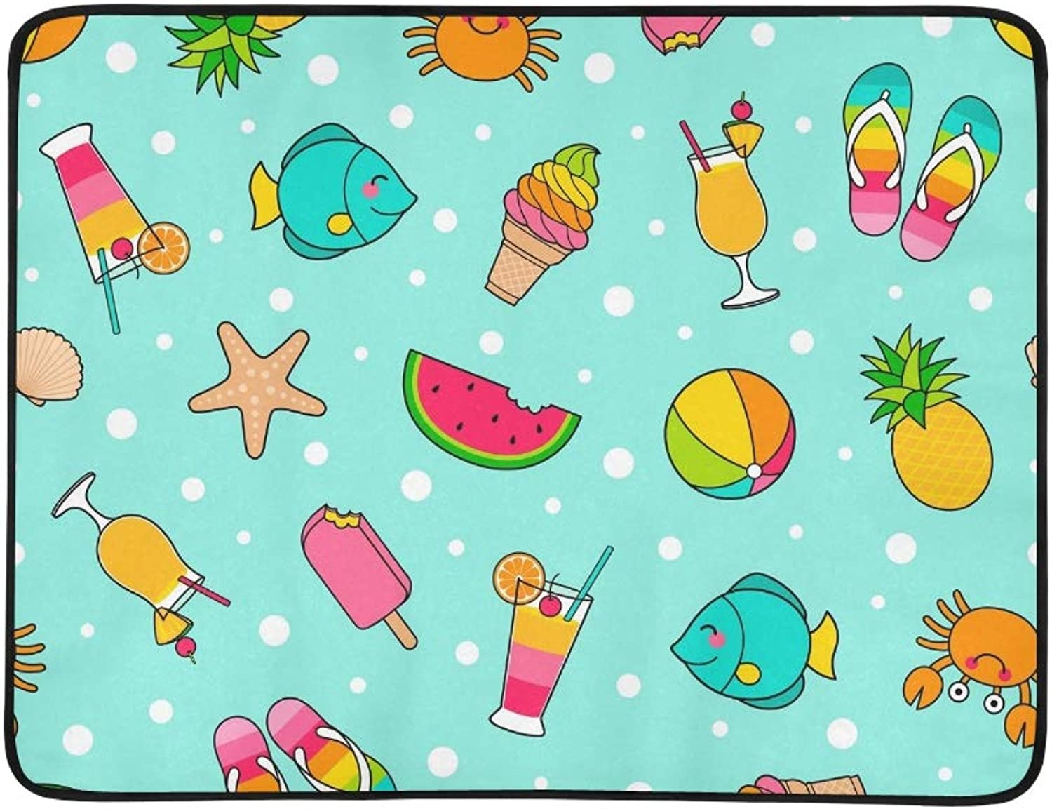 colorful Cute Cartoon Summer Portable and Foldable Blanket Mat 60x78 Inch Handy Mat for Camping Picnic Beach Indoor Outdoor Travel