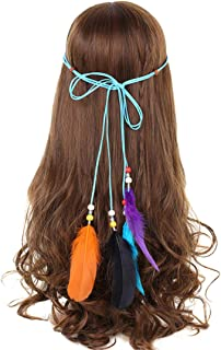 Headbands For Women Indian Feathers Headband Fashion Boho Girls Festival Beads Gypsy Feather Hair Accessories as show