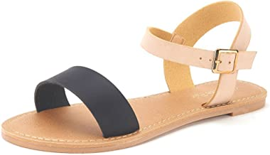DREAM PAIRS Women's Cute Open Toes One Band Ankle Strap Flexible Summer Flat Sandals New