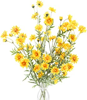 HO2NLE 4PCS Artificial Silk Daisy Flower Branches Fake Bouquets Floral Arrangements Faux Flower Bushes DIY for Home Kitchen Living Room Dining Table Centerpiece Decorations (Yellow)