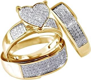 winsopee 3Pcs/Set New Jewelry Women Yellow Gold Filled Heart White Sapphire Wedding Ring Jewelry Decors