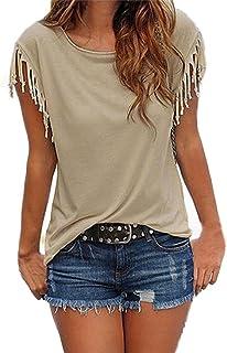 Honestyi T-Shirt /à Manches Courtes,Femmes Mode Chic Tops,Plan/ète Impression Col en V Creux D/écontract/ée Tee Haut Mode