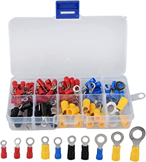 Assorted Wire Crimp Connector Assortment Kit Beher Insulated Ring Terminals 102Pcs//Box