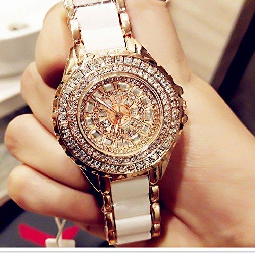 WZFCSAE Fashion Ladies Orologi da Polso Luxury Brand Crystal Dress Donna Guarda Shinning Diamond Rhinestone Ceramic Orologio da Polso al Quarzo, Oro