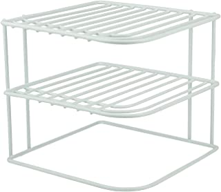 DecorRack Set of 2 Countertop Corner Shelf Organizer, 3-Tier Heavy Duty Corner Rack, Counter and Cabinet Corner Helper Shelf, Free Standing Rack for Kitchen Counter Pantry and Cupboards, White