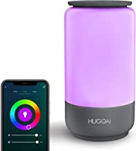 Smart Table Lamp, HUGOAI Dimmable Bedside Lamps for Bedrooms, Works with Alexa & Google Home, LED Nightstand Lamp with Shades of White Lights and Vibrant Colors, No Hub Required - Grey