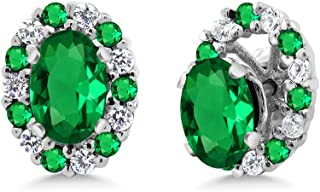 Gem Stone King 1.16 Ct Oval Green Simulated Emerald 925 Sterling Silver Earrings with Jackets