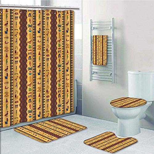 Bathroom Fashion 5 Piece Set shower curtain 3d print,Egyptian,Ancient Hieroglyphs and Floral Geometric Ornament Border Aged Paper Style Backdrop,Multicolor,Bath Mat,Bathroom Carpet Rug,Non-Slip,Bath T