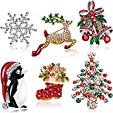 6 Pieces Rhinestone Crystal Christmas Brooch, Christmas Brooch Pins for Xmas Holiday Party Celebration, Snowflake, Penguin, Bell Bow Knot, Reindeer, Christmas Tree and Boots