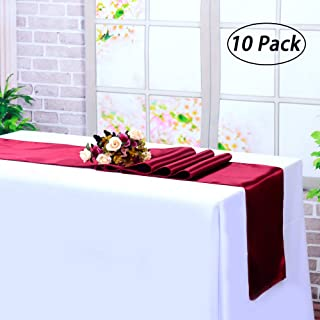 LG Home Pack Of 10 Satin Table Runner 12 x 108 Inch For Wedding Party Engagement Event Birthday Graduation Banquet Decoration - Burgundy