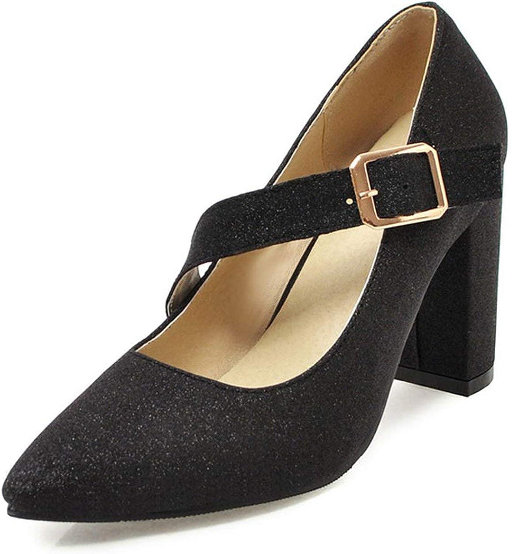 Women shoes High Heels Elegant Belt Buckle gold Silver Bling Pumps Woman Pointed Toe Evening