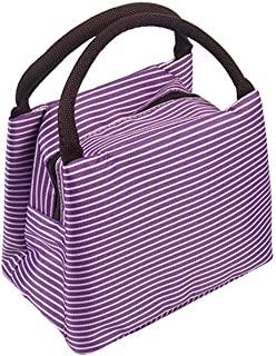 Wultia - Bags for WAMEN Striped Cold Storage Bags Thick Lunch Bag Lunch Bag Bolsa Feminina Purple