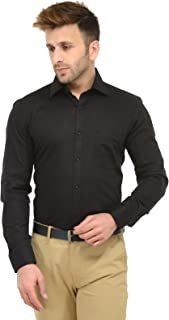 RG Designers Black Solid Slim Fit Formal Shirt