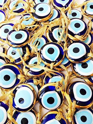 "Bion, Gold Evil Eye Glass Beads, 1 Piece - 1.7"" (4.5cm), malocchio Evil Eye Wall Hanging, Gold Evil Eye Charm, car Rear Mirror Charm, Greek Eye, Ojoturco, Turkish Evil Eye, Nazar (Gold)"