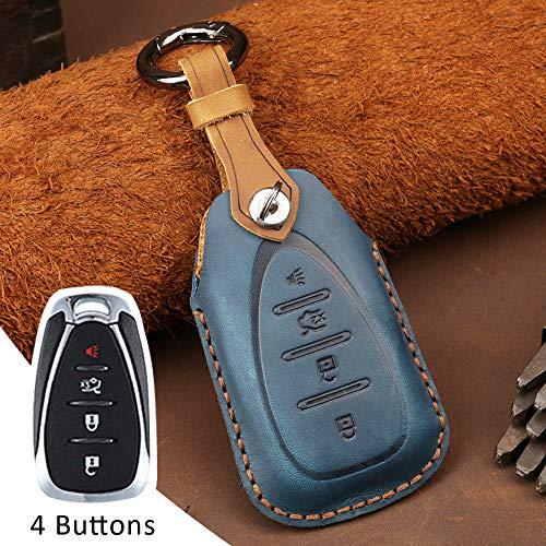 Funda protectora para llave de coche con mando a distancia para Chevrolet Chevy Camaro Cruze Malibu Trax Malibu XL Spark Verano Equinox, 4 botones, de piel, sin llave, color azul