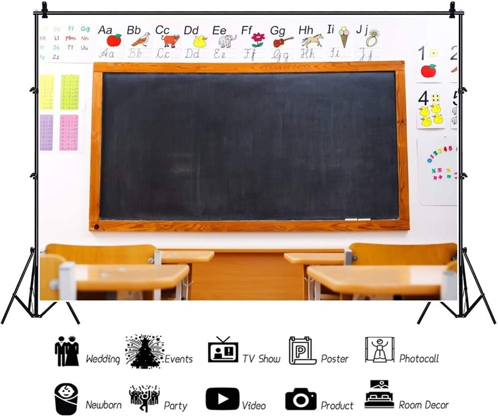 OERJU 20x10ftBack to School Backdrop Colorful Deco Picture Blackboard Neat Desk Photography Background Student Back to School Party Graduation Cake Table Banner Online Class Teacher Course Props