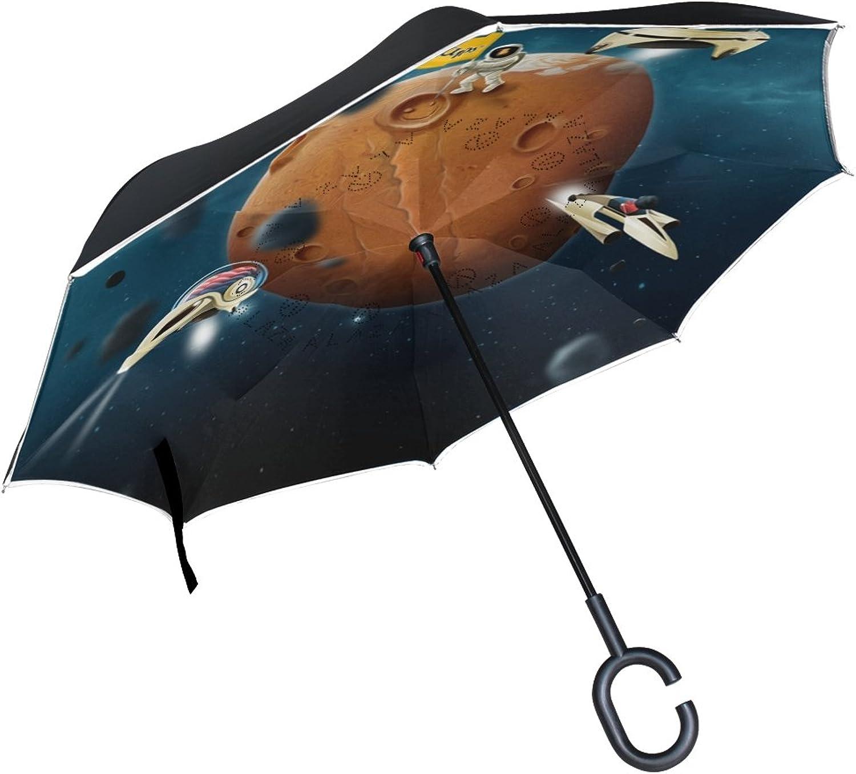 OREZI Moon and SpaceIngreened Umbrella Double Layer Reverse Umbrella Windproof UV Predection CShaped SelfStand Umbrella for Car Rain Outdoor Travel Woman Man