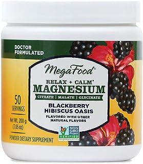 MegaFood, Relax + Calm Magnesium Powder, BlackBerry Hibiscus Oasis Flavor, 7.05 oz.