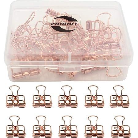 Zoohot creativo hueco pinzas oro rosa Clips de la cola larga, paquete de 15 unidades