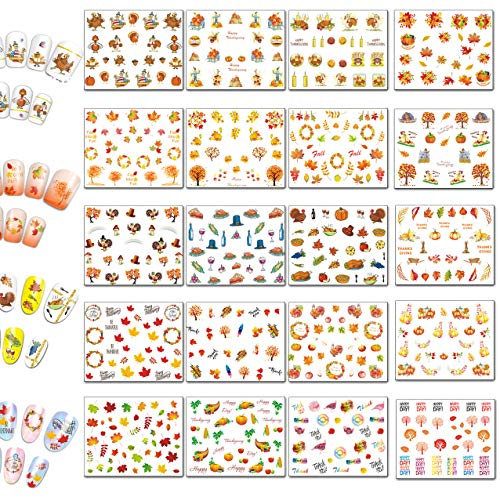 TailaiMei Thanksgiving Nail Decals Stickers, 20 Sheets Autumn Fall Leaves Self-adhesive and Water Transfer Set - DIY Nail Art Tip Include Turkey/Maple/Pumpkin