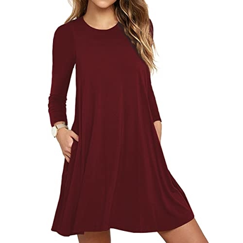 93590ac3558e TOPONSKY Women's Tunic Pockets Casual Swing T-Shirt Plain Loose Dress