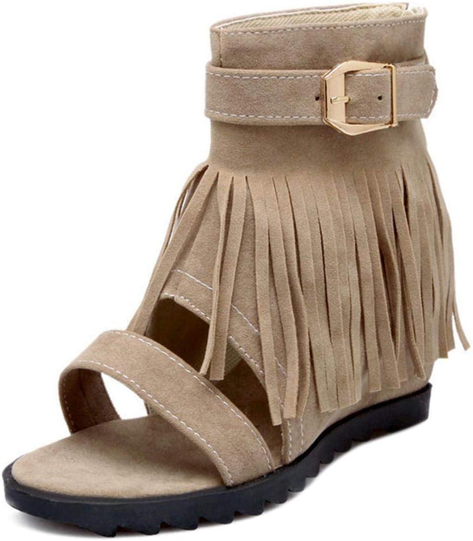 Unm Women's Wedge Heel Sandals Fringe