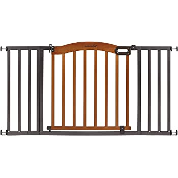 "Summer Decorative Wood & Metal Safety Baby Gate, New Zealand Pine Wood and a Slate Metal Finish – 32"" Tall, Fits Openings up to 36"" to 60"" Wide, Baby and Pet Gate for Doorways"
