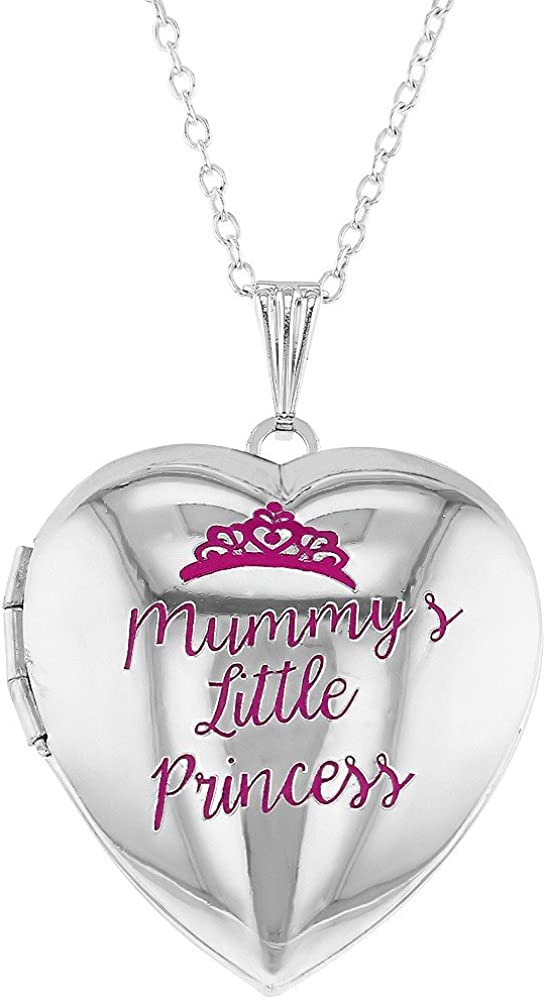In Season Jewelry Pink Princess Crown Girls Heart Photo Locket Pendant Necklace 19