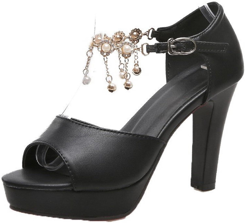 AllhqFashion Women's Buckle Open-Toe High-Heels PU Solid Sandals, FBULD013799