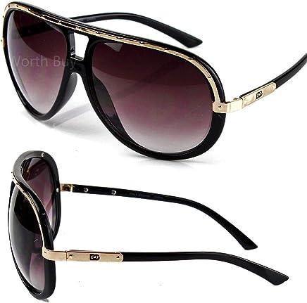 dfbcfa4e77 DG Eyewear Mens Sunglasses Shades Designer Black Gold Pilot Wrap Turbo Large