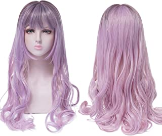 Heat Resistant 230 °F 24 inch Pastel Purple Mixing Brown Wigs For Women,Girl Costume Cosplay Kawaii Wigs Long Wavy Synthetic Wig With Bangs,Female Lady Holidays Party Curly Full wigs