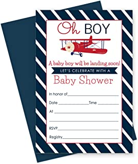Airplane Baby Shower Invitations with Navy Envelopes (15 Pack) Landing Soon Invites Fill-In Blank Style