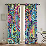 goodsaleA Punch Curtains,Underwater Paisley Pattern Living Room Bedroom Window Drapes 2 Panel Set,104 W X 72 L Inches