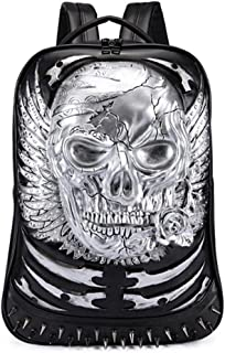 3D Skull with Wing PU Leather Backpack,Retro Rivet Punk Rock Bag Casual Travel Laptop Backpack Fashion Bookbag,Silver