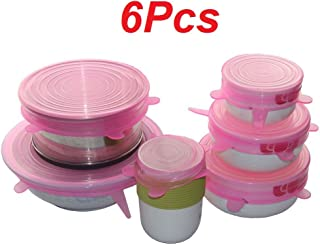 Reusable Silicone Food Savers,JRing 6Pcs Various Sizes Silicone Stretch Lids BPA Free, Dishwasher, Microwave, Oven and Freezer Safe (Pink)