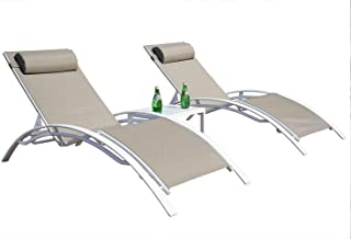 Kozyard KozyLounge Elegant Patio Reclining Adjustable Chaise Lounge Aluminum and Textilene Sunbathing Chair for All Weather with headrest (2 Packs), Very Light, (Taupe W/Table)