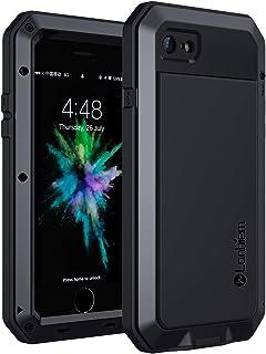 Lanhiem Funda iPhone SE 2020 7/8 Antigolpes [Rugged Armour] Cuerpo Completo ProtectoraPrueba de Polvos Metal Fundas con Protector de Vidrio [Compatible con Carga Inalámbrica] para iPhone SE/7/8