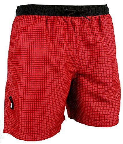 GUGGEN Mountain Badehose für Herren Schnelltrocknende Badeshorts Style-6 mit Kordelzug Beachshorts Boardshorts Schwimmhose Männer kariert Farbe Rot XL