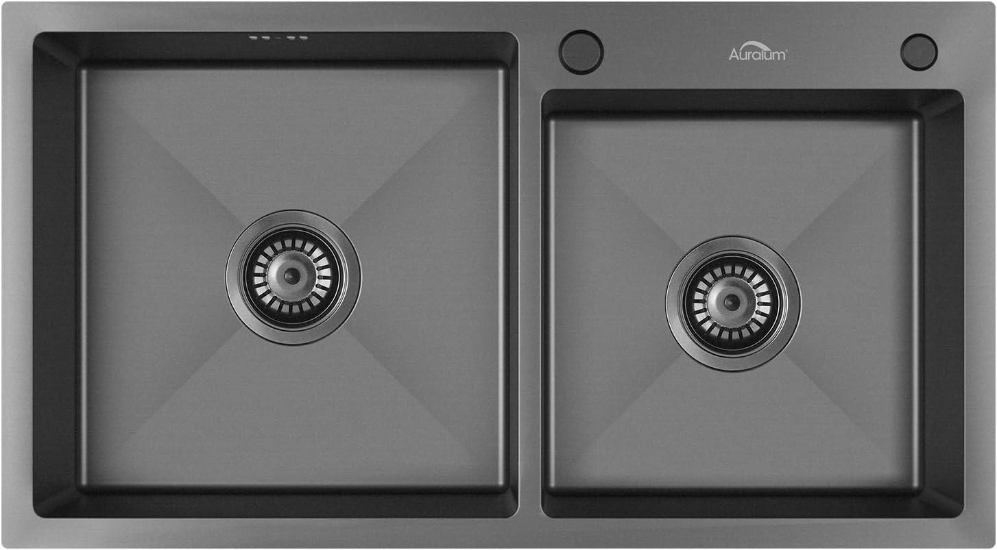 Auralum Fregadero Cocina Gris Negro Oscuro Dos Senos 78x43x22CM, con Residuos cesta colador, V giratorio Tubo de Desagüe se puede conectar lavavajillas | Montaje Sobre encimera o enrasado