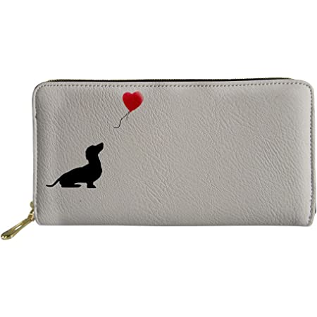 Nopersonality Women Wallet Long Purse Leather Cute Dachshund Love Heart Print Small Clutch Bag Card Holder Organizer White