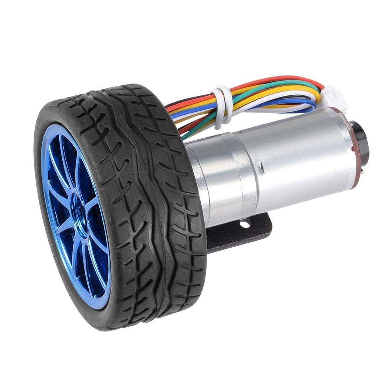 実施する継承絞るDC 6V DIYエンコーダーギアモーターマウントブラケット付き65mmホイールキットマイクロスピードリダクションモータースマートカーロボット用DIYギアボックスモーターモデルDIYエンジンおもちゃ(30RPM)