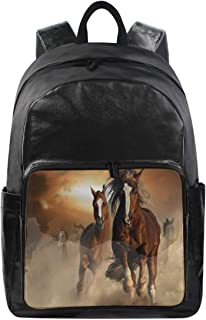 Women/Men Canvas Backpack Caballos Salvajes Bookbag College School Shoulder Bag Travel Rucksack
