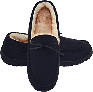 LA PLAGE Mens Slippers Indoor/Outdoor Plush Lining Moccasin Microsuede Slip On House Shoes 13 US Black