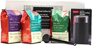 Civilized Coffee Coffee Whole Bean Premium Gift Box Set with Electric Coffee Grinder and 3 bags of Gourmet Coffee Colombia Excelso, Tanzania Peaberry & Kenya by Civilized Coffee€