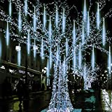 Twinkle Star Meteor Shower Rain Lights, 30cm 8 Tubes 288 LED Icicle Snow Falling Christmas Lights Outdoor Raindrop Lights, Xmas Wedding Party Tree Holiday Decoration, White