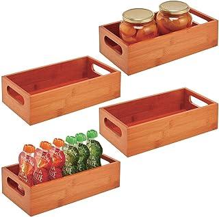 nueces o botellas especias Pr/áctico caj/ón de madera para almacenar alimentos mDesign Juego de 4 cajas organizadoras con asas Organizador de cocina abierto en madera de bamb/ú marr/ón