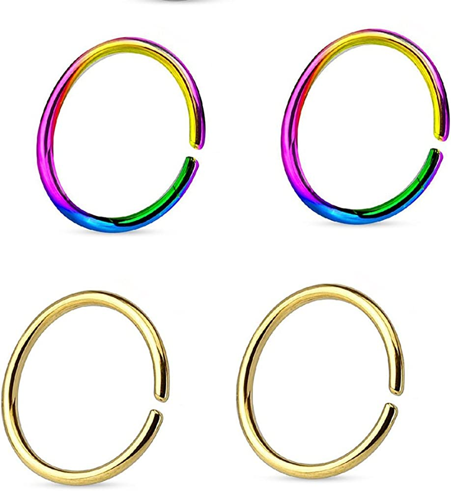 Great my shop 22G Body Jewelry Piercing Nose Ring Hoop Tragus Hoop Earring 8mm Surgical Steel